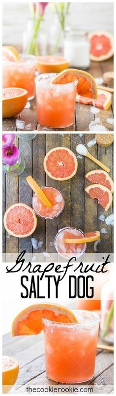 Grapefruit Salty Dog Cocktails...MY FAVORITE SUMMER DRINK! Grapefruit, vodka, and sea salt...THE BEST flavor combo, so refreshing! (Greyhound with salted rim)