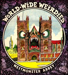"""thebristolboard: Gallery of """"World Wide Weirdies"""" by Ken Reid from Whoopie!, a British children's comic published by IPC from 1974-1985. Replacing the """"Creepy Creations"""" features from Shiver and Shake (which merged with Whoopie! in 1974), many of these back cover illustrations were inspired by readers who sent in spooky names for famous landmarks for Reid to illustrate. You can see lots more here."""