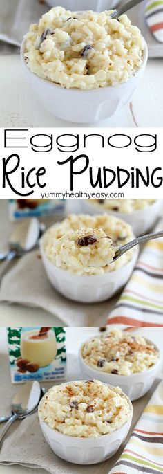 This delicious and creamy Eggnog Rice Pudding recipe will have you ready for the holidays! The textures in this rice pudding will wow your tastebuds. The rice is tender, the raisins are chewy and the pudding part is so creamy. Add in eggnog flavor and it' Just Desserts, Delicious Desserts, Dessert Recipes, Yummy Food, Tasty Snacks, Dessert Ideas, Rice Pudding Recipes, Rice Puddings, Eggnog Bread Pudding