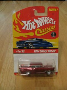 Hot Wheels Classics Series 1 - 1957 Chevy Bel Air #1 of 25 by Mattel. $10.33. Hot Wheels Classics Series 1 - 1957 Chevy Bel Air #1 of 25. Color is Metallic Red. Die Cast body & chassis. Special Paint. Limited Edition. You will receive the exact item pictured. HW4
