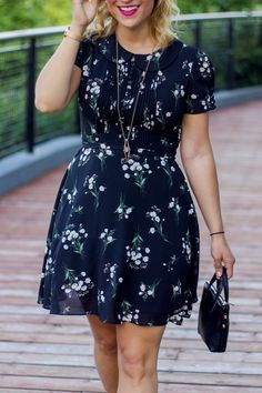 the perfect summer outfit, with a black floral dress from chicwish