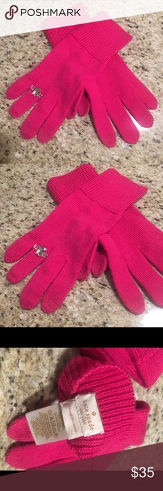 Kate Spade Gloves Hot Pink Gloves with Rhinestone Accent.  One Size.  Worn once.  Super adorable for this season! 🎀💖 kate spade Accessories Gloves & Mittens
