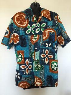 VTG 60s Sears Kings Road Barkcloth Hawaiian Shirt Made In Japan L