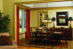 Dining Room of The Cleary Plan 948: Curtains and area rugs