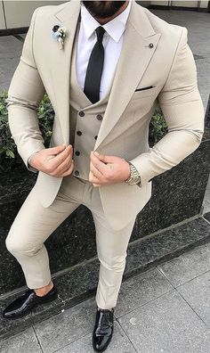 Mens Style Discover Red Slim Fit Suits mens Wedding Suits With Pants Business 2 Pieces Best Suits For Men, Cool Suits, Formal Suits For Men, Cream Suits For Men, Suit For Men, Mens Casual Suits, Black Suit Men, Men's Suits, Indian Men Fashion