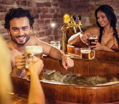 Beer Spa Prague - At this beer spa you can bathe in 1,000-litres of beer while having an unlimited amount of Czech beer to drink at the same time. More unique travel inspiration in Europe can be found on a map on www.broscene.com !