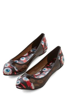 Tempted to wear these to my next eye surgery. Flaunt your visionary style in these captivating ballet flats! Wide Shoes, Fab Shoes, Future Clothes, Thigh High Socks, Pumps, Heels, The Struts, Vintage Style Outfits, Fashion Shoes