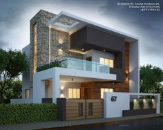Porch Rumah Moden Beautiful Exterior by Sagar Morkhade Vdraw Architecture Bungalow House Design, House Front Design, Minimalist House Design, Modern House Design, New House Designs, Best Home Design, Kerala House Design, Modern Architecture House, Concrete Architecture