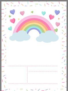 Rainbow Party Invitations, Unicorn Invitations, Birthday Invitations, Pink Unicorn Wallpaper, Rainbow Party Decorations, Eid Crafts, Happy Birthday Wallpaper, Blog Backgrounds, Birthday Frames