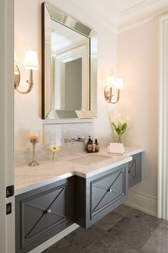 Transitional Powder Room with Wall sconce, Undermount sink, Complex Marble, Flat panel cabinets, High ceiling, Flush