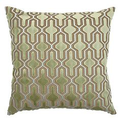 Delancy Pillow in a plush Sea Green velvet in with a Venetian Blue cut away, $89.95