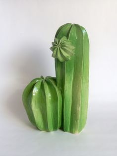 Green ceramic clay art cactus pottery sculpture by Lina Cofán