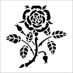 Formal Rose Solo stencil from The Stencil Library BUDGET STENCILS range. Buy stencils online. Stencil code CS33.
