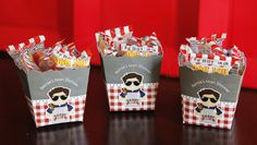 Personalized candy boxes for a Daddy Baby-Q Man Shower by Pretty My Party