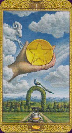 Mystical Tarot :: Ace of Pentacles Ace Of Pentacles, All Tarot Cards, Divination Cards, Coin Card, Cartomancy, Tarot Card Decks, Angel Cards, Tarot Spreads, Magic Book