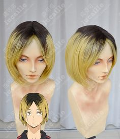 Haikyū!! Kenma Kozume Brown Gradient Golden Center Parting Short Cosplay Party Wig_Lucaille WIG