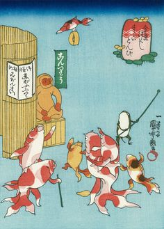 Utagawa Kuniyoshi (Japanese Ukiyo-e Printmaker, ca.1797-1861) / Sarai Tonbi, from the series Goldfish (Kingyo Tsukushi)