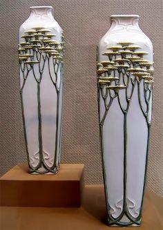 Art Nouveau vases in the Toledo Museum of Art, Ohio
