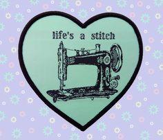 """life's a stitch"" heart pastel mint woven patch ~ vintage victorian aqua illustration sewing seamstress pun sew cute machine kawaii sweet lolita fashion flair iron on singer brother pastel goth soft grunge dad joke cheesy corny"