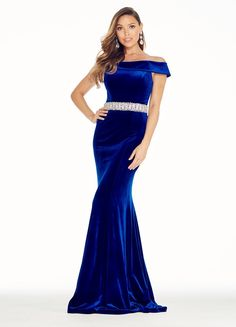 Ashley Lauren 1303 Steal the show in this off the shoulder velvet evening dress. The rhinestone beaded belt accentuates the waist and the dress is finished wi Formal Gowns, Strapless Dress Formal, Formal Wear, Dress Long, Mermaid Evening Gown, Evening Dresses, Blue Dresses, Casual Dresses, Royal Blue Evening Dress