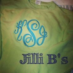 JilliB's-- a little sweatshirt love!!  Love the green and aqua color combo!!  Photo taken by @jillibs on Instagram, pinned via the InstaPin iOS App!