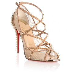 Christian Louboutin Alarc 100 nude spike sandal ($1,350) ❤ liked on Polyvore featuring shoes, sandals, louboutin, beige, ankle wrap sandals, strap sandals, christian louboutin shoes, nude high heel sandals and leather sandals