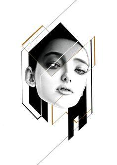 pencil、mechanical pencil 、black \ white pen 、golden ink on paper - Injr Hsu Composition Art, Glitch Art, Illustrations And Posters, Fashion Illustrations, Geometric Art, Portrait Art, Custom Art, Graphic Design Inspiration, Collage Art