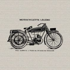 Vintage French Motorcycle Motor Bike Wall Decor by DigitalThings, $1.00