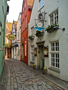 Schnoor, Bremen, Germany Ate delicious schnitzel down this street/ Oh The Places You'll Go, Places To Travel, Places To Visit, Bremen Schnoor, Bremen Germany, Photos Voyages, Album Photo, Central Europe, European Travel