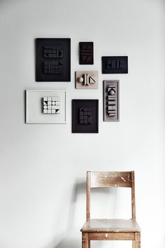 DIY painted wood blocks as wall art