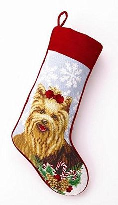 Yorkshire Terrier Yorkie Dog Needlepoint Christmas Stocking Wool 11 Inch X 18 Inch -- This is an Amazon Affiliate link. Want additional info? Click on the image.