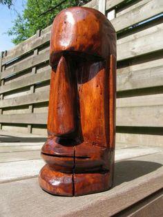 Tiki Head, Tiki Statues, Tiki Totem, Whittling Wood, Tiki Lounge, Tiki Art, Woodworking Shop Layout, Diy Furniture Easy, Reclaimed Wood Projects