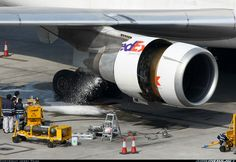 FedEx McDonnell-Douglas getting one of its 3 General Electric GE washed Mcdonnell Douglas Md 11, Aircraft Maintenance, Gas Turbine, Aircraft Engine, Cargo Airlines, Aviation Industry, Jet Engine, Landing Gear, Civil Aviation