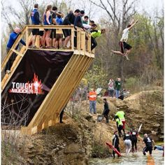Jumping off a cliff into freezing water, bruised and battered. separates the real from the wanna be mudders.For my buddy BC!
