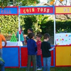 Game Ideas: How To Throw a Circus Themed Birthday Party fun dunking booths coin toss try to win a fish have so much FUN! Diy Carnival Games, Carnival Booths, Carnival Themed Party, Carnival Birthday Parties, Circus Birthday, Birthday Fun, Birthday Party Themes, Carnival Ideas, Birthday Ideas
