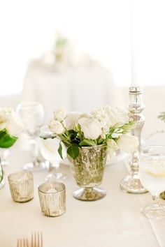 simple elegant white flowers, mercury glass