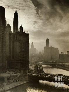 View of Chicago Sky and Skyscrapers Photographic Print at Art.com