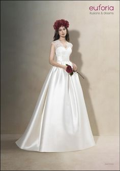 Fabulous bridal gown by Euforia perfect for your upcoming wedding. The lace straps and crepe finish just make the dress flow so nicely together. www.froxoffalkirkbridal.com