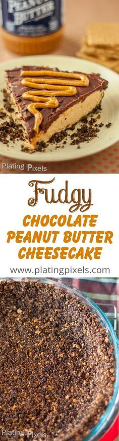 Fudgy Chocolate Peanut Butter Cheesecake by Plating Pixels. Creamy, silky, rich peanut butter cheesecake atop a chocolate crust. Each decadent bite melts in your mouth. - http://www.platingpixels.com
