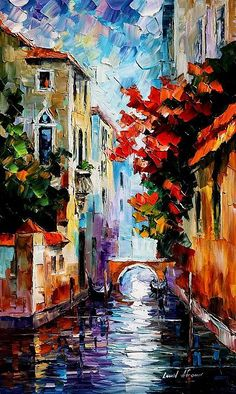 Morning in Venice~this artist fascinates me...such glorious colors! Such a spectacular style! Oh, to own one little print! And hid rain paintings...how does he DO that?