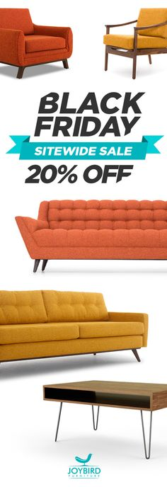 Make a statement with iconic mid-century modern furniture from Joybird. Enjoy free in-home delivery, lifetime warranty, 365-day return policy, plus 0% financing for low monthly payments. Shop Joybird now and take 20% off EVERYTHING today during their Black Friday Sale!