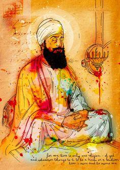 Guru Tegh Bahadur Ji (Ninth Guru)   Inkquisitive Illustration