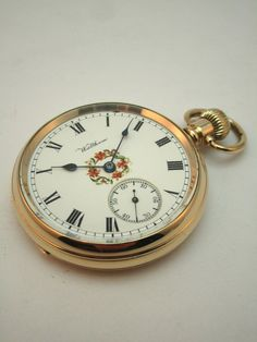 ANTIQUE c1922 WALTHAM POCKET WATCH, HAND PAINTED DIAL, 14K GOLD /F DENNISON CASE