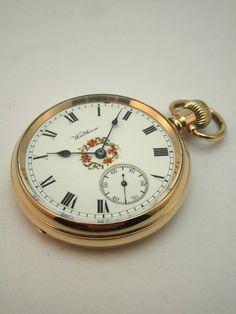 ANTIQUE c1922 WALTHAM POCKET WATCH, HAND PAINTED DIAL, 14K GOLD /F DENNISON CASE