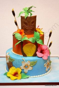 Hawaiian Luau Wedding Cake with link for hibiscus flower tutorial.not that it would fit in our wedding, but love this cake Hawaii Birthday Cake, Hawaii Cake, Hawaiian Birthday, Themed Birthday Cakes, Hawaiian Luau, Birthday Cake Girls, Themed Cakes, Aloha Cake, Hawaii Hawaii