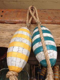 Wooden Vintage Lobster Buoys   Handmade Decor Ideas For Decorating A Beach House