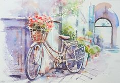 TopCreator - Велосипед Watercolor Landscape, Landscape Paintings, Watercolor Paintings, Bicycle Painting, Bicycle Art, Charcoal Picture, Perfumes Vintage, Christmas Tree Painting, Decoupage Vintage
