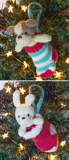 6febbb522a7 Free Knitting Patterns for Puppy or Bunny in Stocking Ornaments - Hanging  Christmas tree ornaments with