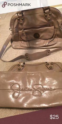 Jessica Simpson Purse Authentic Jessica Simpson Purse. Taupe color, bell shape purse. Has a longer strap to wear on shoulder. Gently used condition. Jessica Simpson Bags Satchels