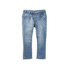 Girls 4-8 OshKosh B'gosh® Polka-Dot Pull-On Denim Pants, Size: 6X, Blue Other